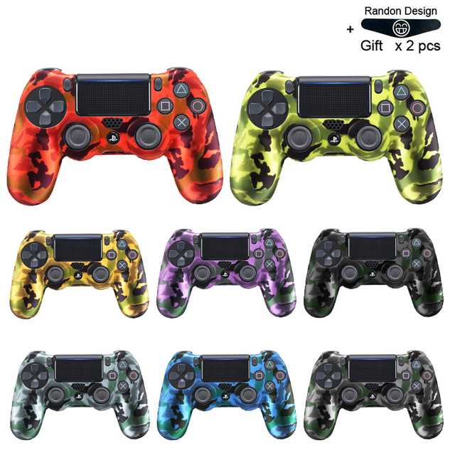 Soft Flexible Cover Silicone Case Protection Skin For Playstation 4 PS4 Pro Slim with LED Light Bar Sticker 2 pcs Grip +led Skin 1
