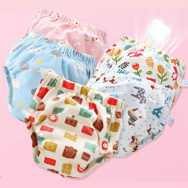 6 Layer Waterproof Reusable Baby Cotton Training Pants Infant Shorts Underwear Cloth Diaper Nappies Child Panties Nappy Changing