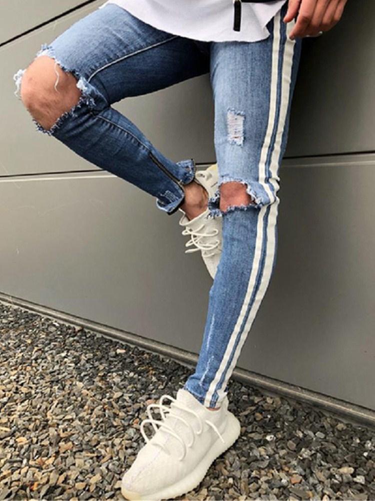 Trendy Men Hop Streetwear Skinny Jeans Biker Destroyed Frayed Fit Denim Ripped Denim Pants Side Stripe Pencil Pants