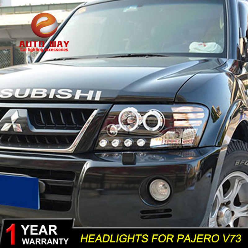 تصفيف السيارة رئيس مصباح الحال بالنسبة ميتسوبيشي باجيرو V73 المصابيح الأمامية LED العلوي DRL عدسة مزدوجة شعاع ثنائية زينون HID اكسسوارات السيارات