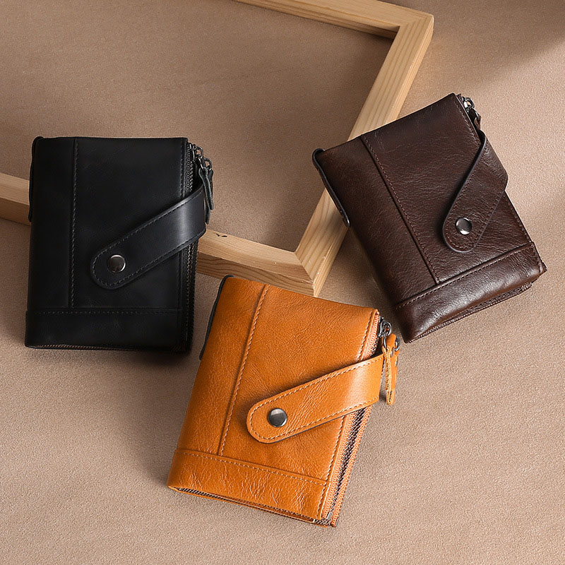 Men Leather Coin Purse Snap Closure Credit Card Holder Portable Wallet Solid Color Cards Pack Pocket Dark Brown