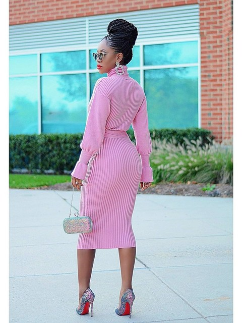 WJFZQM Turtleneck Basic Ribbed Knitted Sweater Dress Autumn Ruffles Sleeve Sashes Midi Sexy Bodycon Winter Office Pink Dresses 4