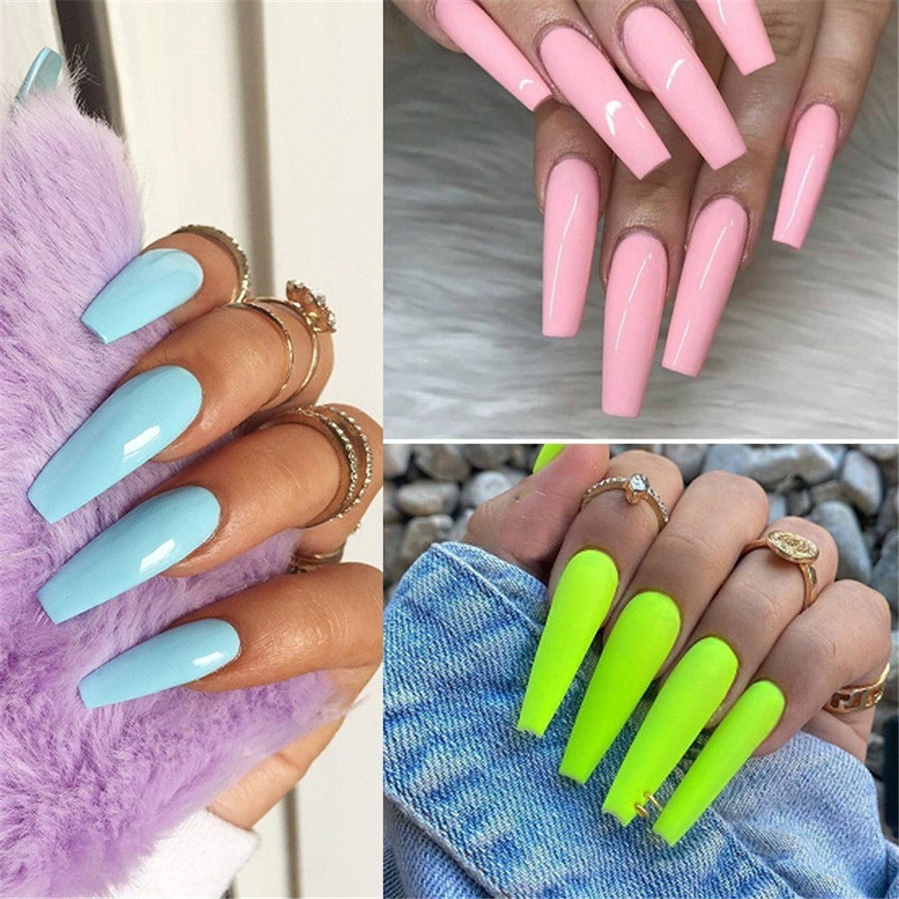 100 Pcs/Set Full Cover Matte False Nail Tips Nail Art Manicure Matte Tips for False Fake Nails Extension Ballerina False Nails
