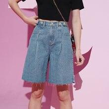 ELFSACK-pantalones cortos de tela vaquera para mujer, pantalón corto de cintura ancha, color azul sólido, blanco elfo, Coreano puro, para el verano, 2020