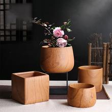 Vintage Wood Grain Ceramics Flower Pot For Dried Flowers Real Flowers Creative Simple Decor Household Ornament Geometric Bottle