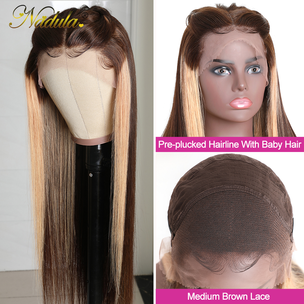 Nadula Hair Straight Lace Front  Wigs 13x4 Ombre Honey Blonde Straight Hair Wigs for Black Women Pre plucked  Hair 2