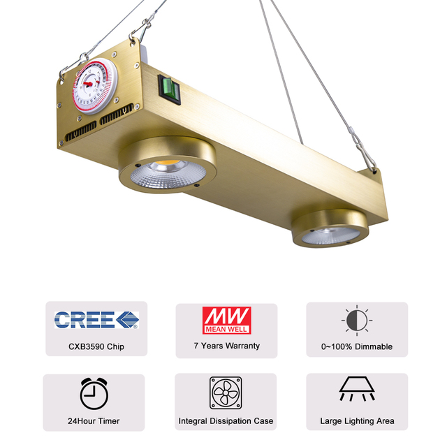 Светодиодсветильник лампа полного спектра с таймером, 200 Вт, Cree CXB3590