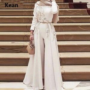 Image 2 - Robe de soirée musulmane, combinaisons détachables, écharpe islamique, robe de soirée, Kaftan, arabie saoudite, robe de bal sur mesure