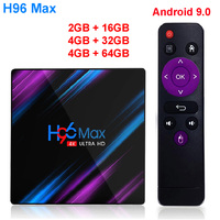 H96 MAX android 9.0 smart tv box 4G RAM 64GB ROM RK3318 H.265 Set top box 4K HD 2.4G/5.8G WIFI BT 4.0 android tv box VS X96 mini