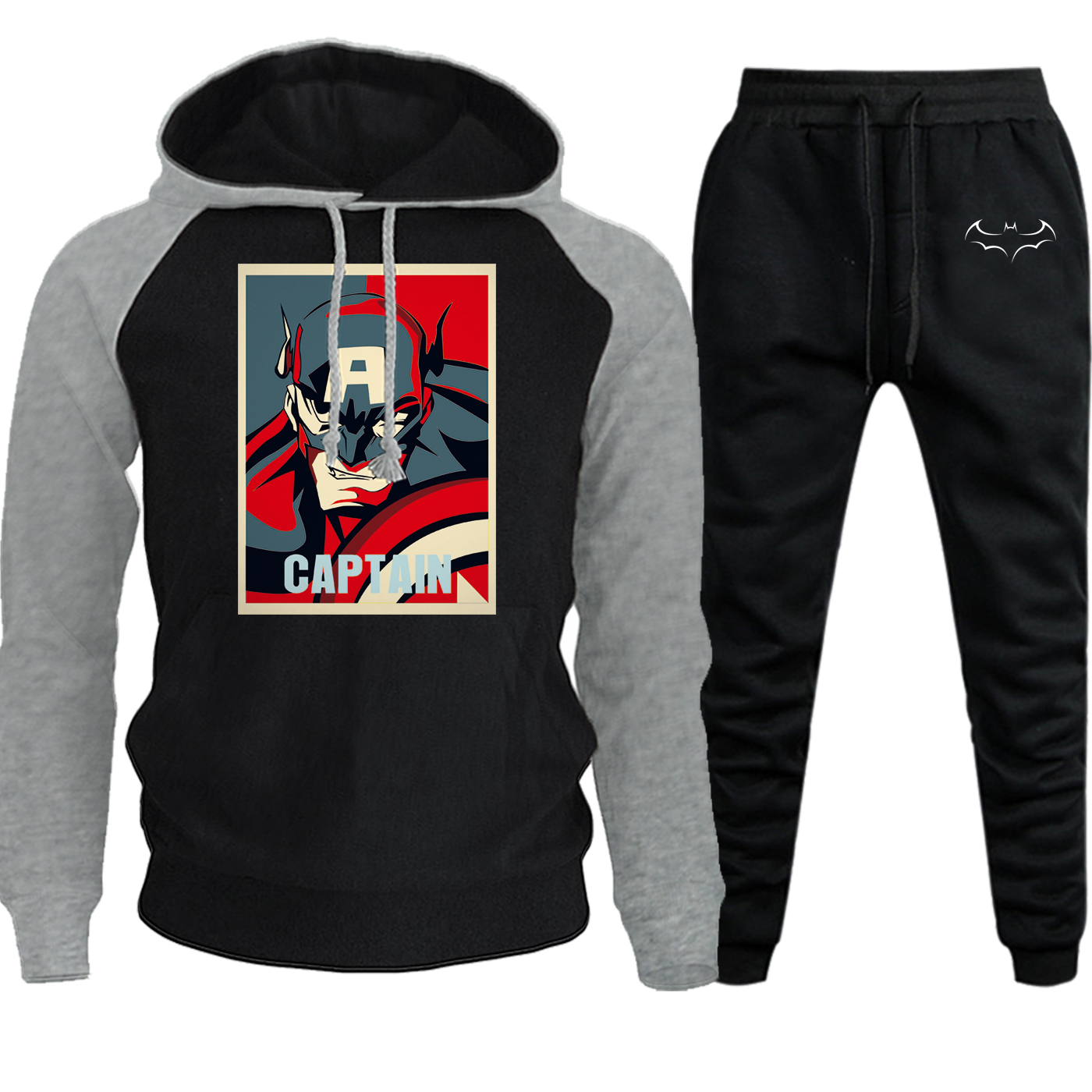 Autumn Winter 2019 New Hoodie Mens Sweatshirts Raglan Batman Hip Hop Superhero Suit Hooded Casual Pullover+Pants 2 Piece Set