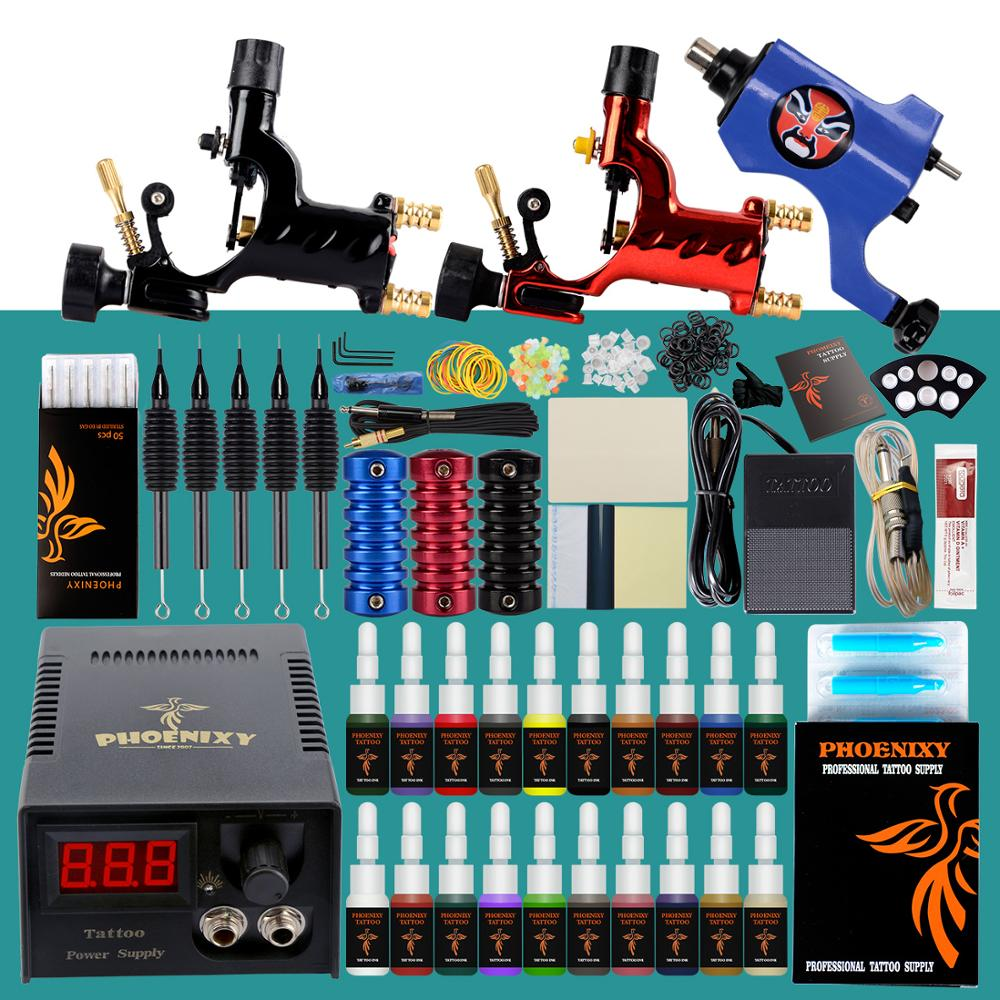 Full Professional Tattoo Kit 3 Tattoo Rotary Machines Gun 20 Colors Inks LCD Power Supply Body Art Makeup Permanent Tattoo Set