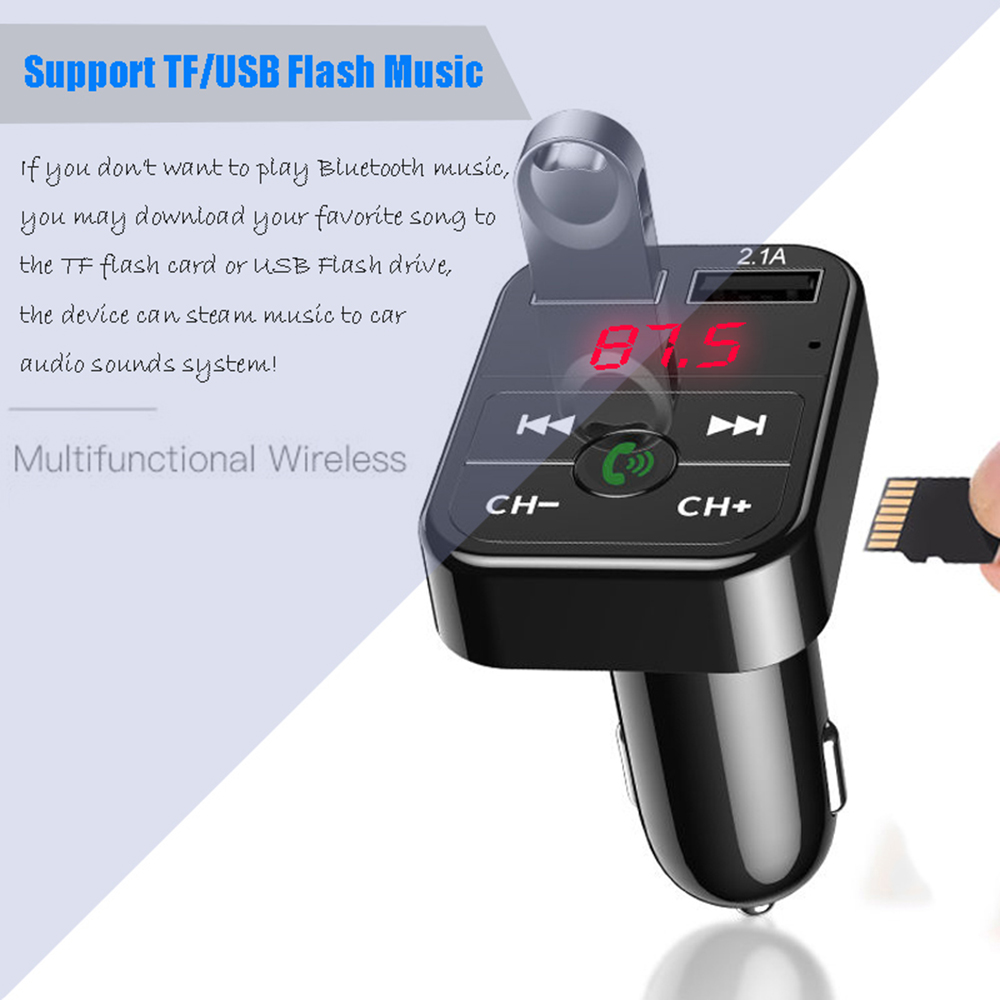 Car Bluetooth with Mp3 Player FM Transmitter Audio Receiver  Dual USB Fast Charger  3