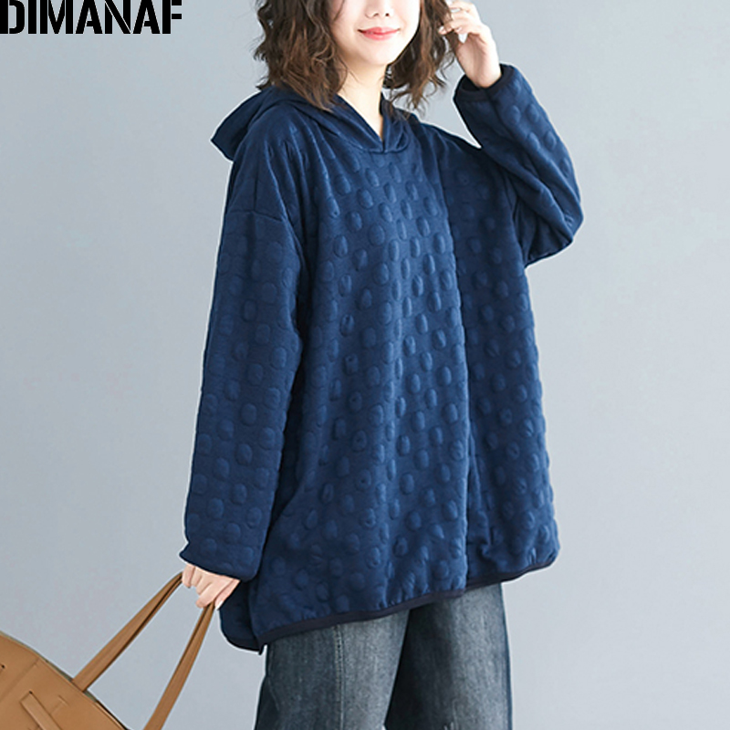 DIMANAF Plus Size Women Hoodies Sweatshirts Autumn Winter Female Pullover Tops Cotton Thick Loose Polka Dot Hooded Basic Clothes