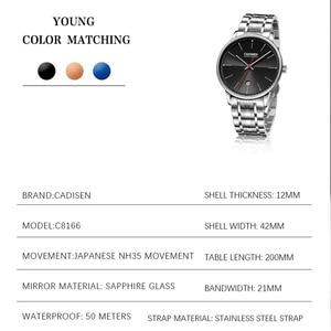 Image 2 - CADISEN reloj mecánico automático para hombre, reloj de pulsera militar, resistente al agua, de acero inoxidable, Masculino