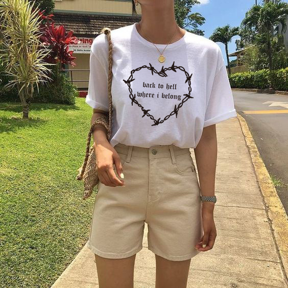 fashionshow HJN Back To Hell Where I Belong T-Shirt Women's Tumblr Fashion 90s Cyber Gothic Tee Casual Short Sleeves Shirt(China)