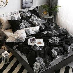 40 einfache Reine Baumwolle Schwarz Und Weiß mit Muster Blätter Gedruckt Drei-teilig Einzigen Doppel Schlafsaal Bettwäsche Artikel