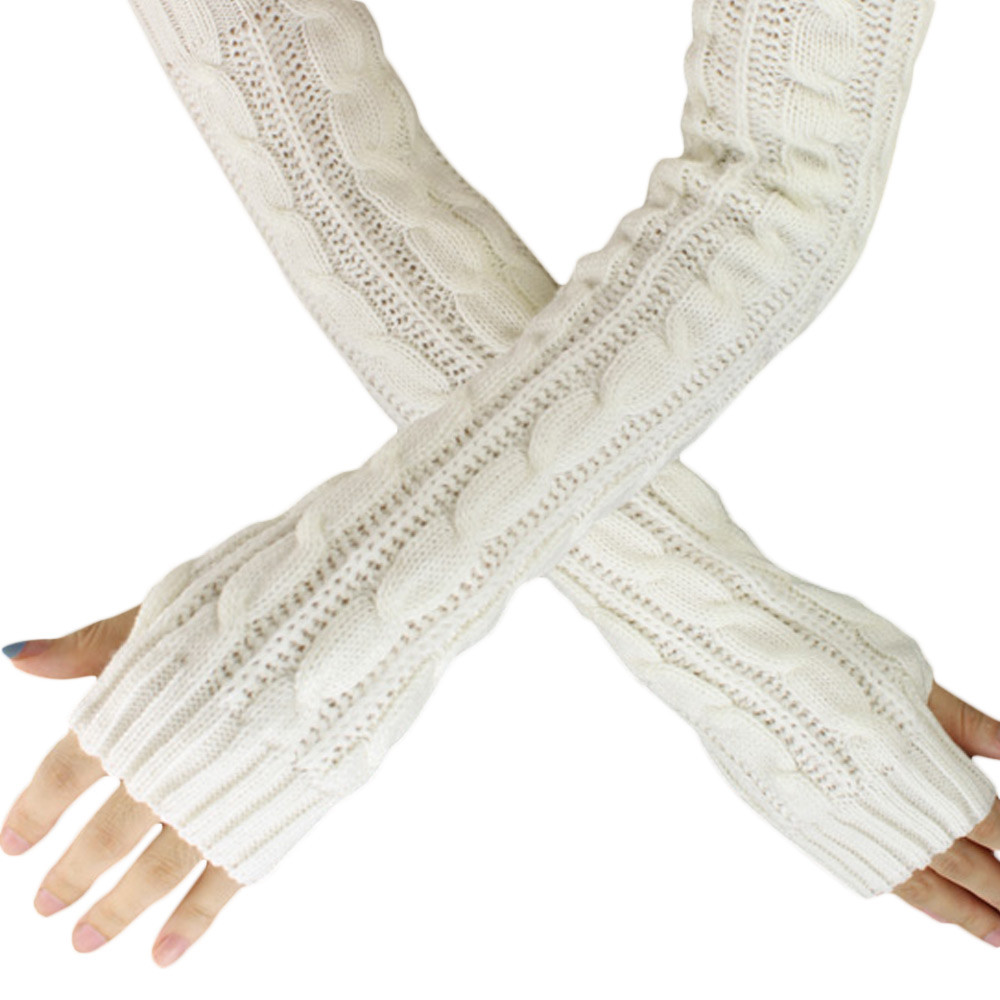 Gloves Hemp Flowers Fingerless Knitted Long Gloves 2019 Spring Autumn New Plus Size Fashion Simplicity White Gloves Solid