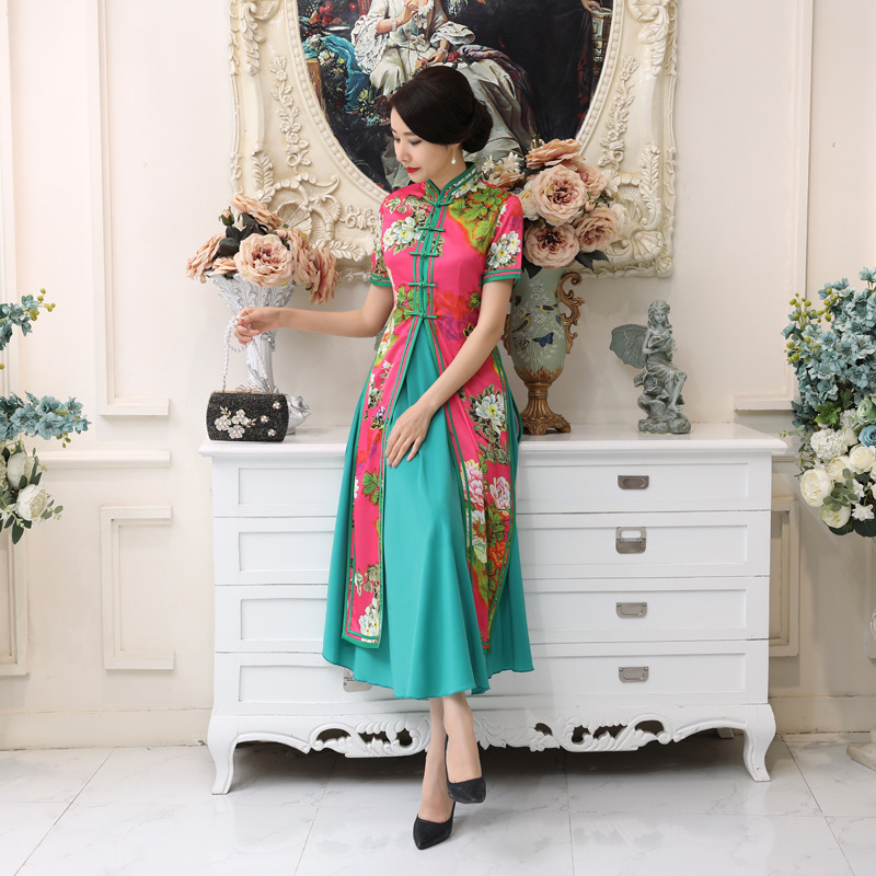 A Generation Of Fat AD5-C New Style Improvement Cheongsam Slim Fit Retro Chinese-style Daily Life WOMEN'S Dress Viet Nam Audrey