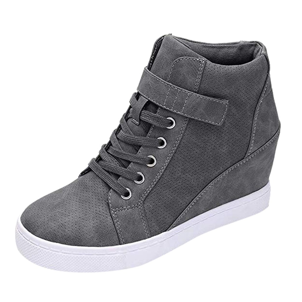 Women Short Booties Ladies Winter Warm Lace Up Solid Increase Wedges Short Boots Autumn Winter Plus Size 42 Canvas Casual Shoes