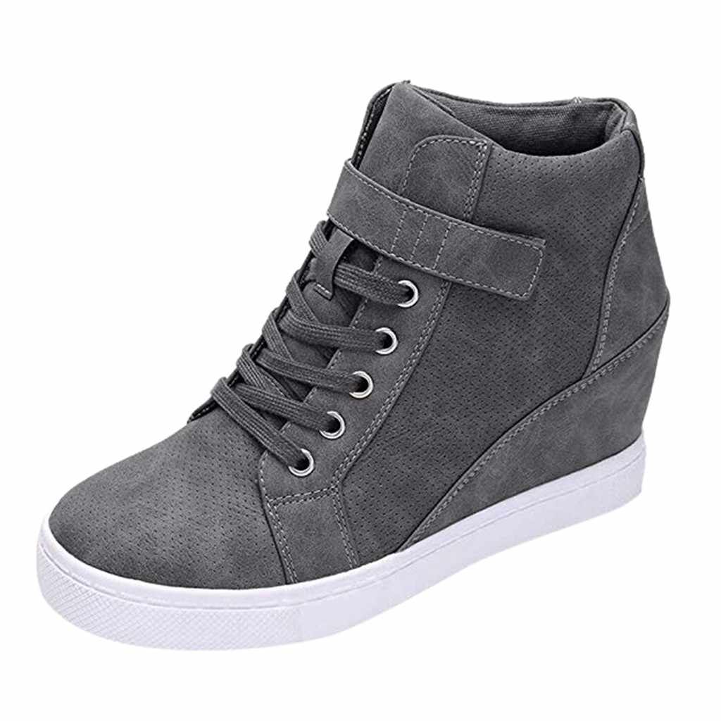 Vrouwen korte laarsjes Dames Winter Warm lace up Solide Toename Wiggen Korte Laarzen Herfst Winter Plus size 42 canvas Casual schoenen