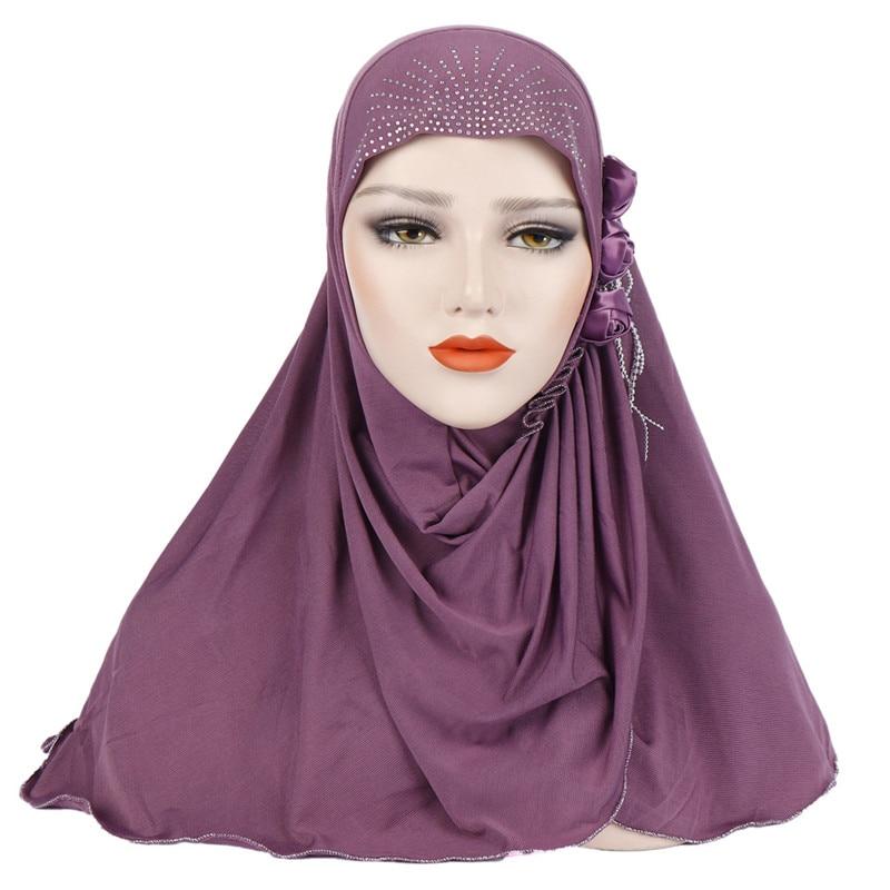 Malaysia Muslim Hijab Scarf Solid Cotton flower diamond shawl Women's Scarf