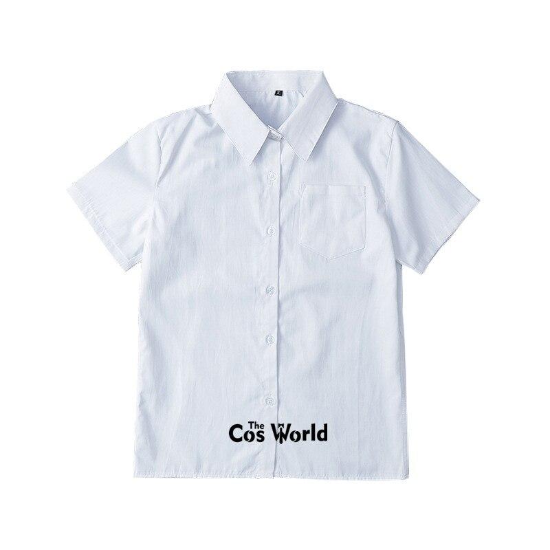 XS-5XL Men's Women's Summer V Neck Short Sleeve Slim White Shirt Tops Blouses For JK School Uniform Student Clothes