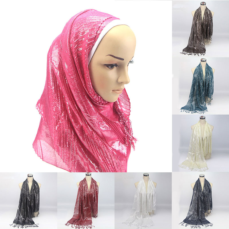 Retro Ethnic Pleated Headscarf Hijab Scarf 2020 Muslim Women Crinkle Hijab Female Foulard Headwear Silk Tassel Scarves Shawls