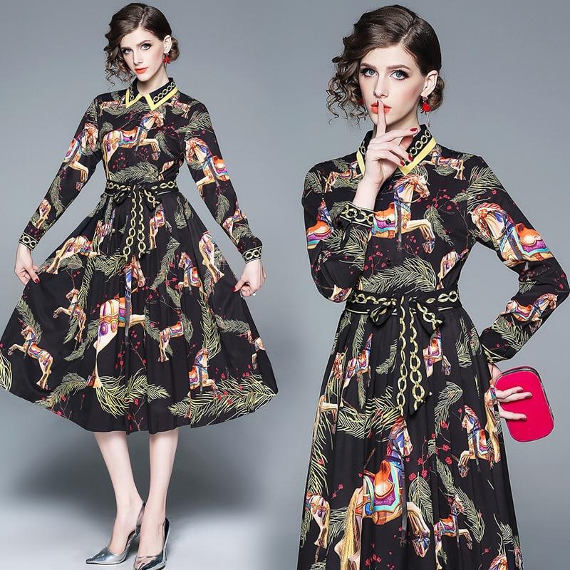 Ozhouzhan 2019 Spring New Style French Ribbon Shirt Collar Pleated Base Skirt Retro Flower Dress