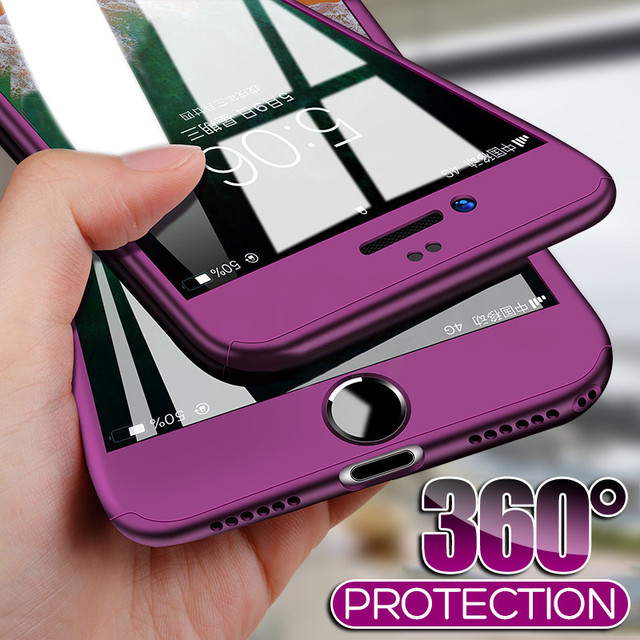 360 غطاء كامل للهاتف حقيبة لهاتف أي فون X 8 6 6s 7 Plus 11 Pro Max PC الغطاء الواقي لهاتف آيفون 7 5 5s XS MAX XR مع زجاج 1