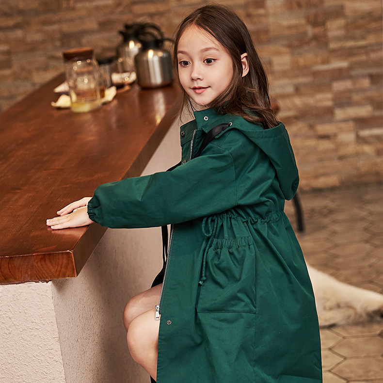 2020 Spring Autumn Girl's Coat New Arrival Korean Style Cotton Two Color Long Style All-match Windbreak For Fashion Baby Girls