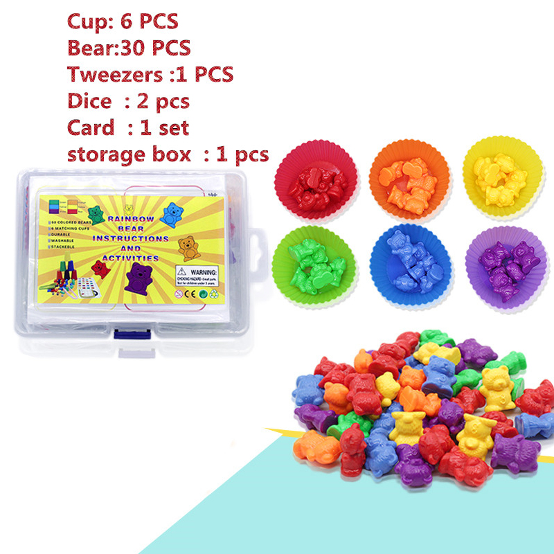 Storage Box Counting Bears With Stacking Cups Montessori Rainbow Matching Game Educational Color Sorting Toys For Care Toddlers