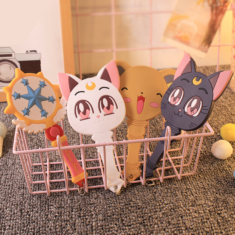 Cute Cardcaptor Sakura Magic Wand Dreamlike Hand Mirror Kawai Make Up Handle Mirror Luna Cat Mirror Girls Portable Anime Cosplay