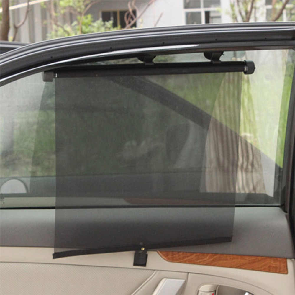 最新のホットユニバーサル車のカーテン PU ガーゼウィンドウ自動プロフェッショナル調整可能な黒シールドとサンシェード吸盤縮小ボタン