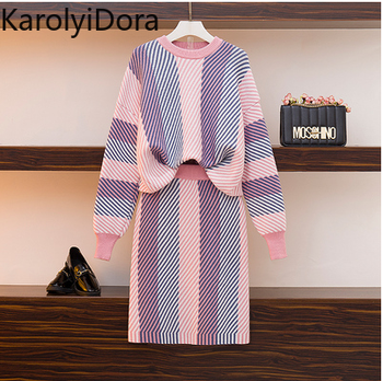 Women's suit Autumn Winter Irregular Striped Knitted Sweater Pullovers and Bodycon Pencil Skirts 2 Pieces Sets Women Warm Suit children s garment autumn and winter fashion sweater suit sweater dress skirt sweater 2 pieces set kids clothing