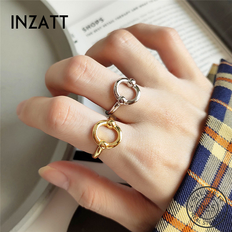 INZATT Real 925 Sterling Silver Geometric Round Ring For Fashion Women Trendy Punk Fine Jewelry Minimalist Accessories 2019 Gift