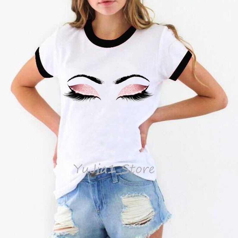 Principessa Trucco di Arte Ciglia Rosa Della Stampa di moda t delle donne della camicia Kawaii tumblr tshirt streetwear pantaloni a vita bassa di estate top donna vestiti