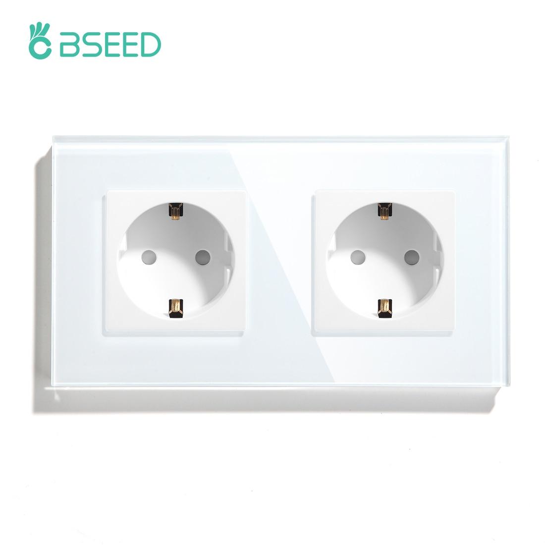 BSEED EU Standard Wall Double Socket EU Socket 16A 110V-240V 3 Colors White Black Gloden Crystal Glass Panel Free Shipping