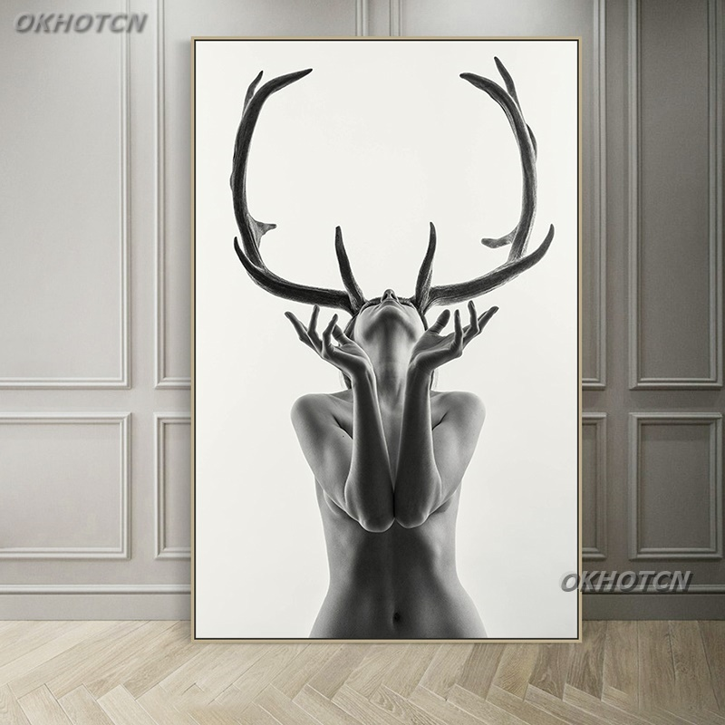 Scandinavian Style Black And White Sexy Antlers Beauty Canvas Painting Art Print Poster Wall Picture For Living Room Home Decor