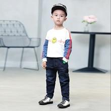 One up Brother/джинсовые брюки для мальчиков; коллекция года; сезон весна; детская одежда в Корейском стиле; детские кожаные эластичные длинные брюки с буквами