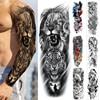Fake Tattoo Tiger For Men Waterproof Temporary Dragon Flower Paper Sticker Totem Geometric Full Arm Large Size Sleeve Tatoo Boys