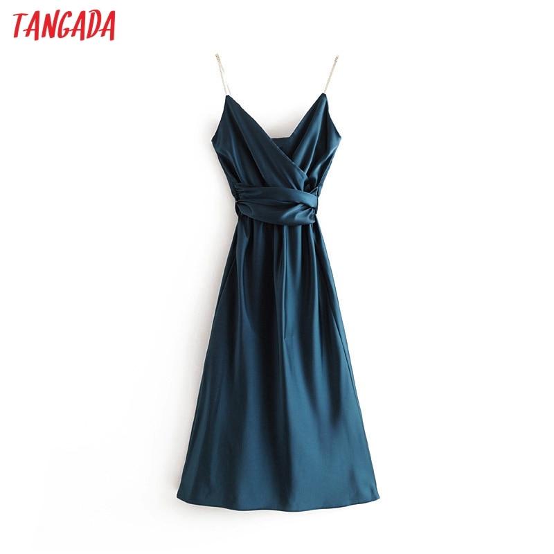 Tangada Fashion Women Diamonds Strap Solid New Year Party Dress Sleeveless Vintage 2019 Ladies Sexy Midi Dresses 3H19