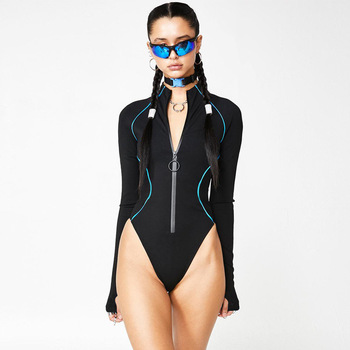 Meyoung Sexy Jumpsuits Women Bodysuit Front Zipper Summer Long Sleeve Outfits Overalls Body Femme Winter Rompers 2020