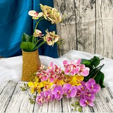 2 Stem 12 Heads Real Touch Latex Artificial Moth Orchid Artificial Flowers With leaves For Wedding Festival Decoration Butterfly