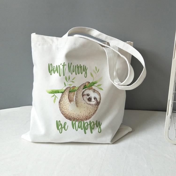 Fashion Literary Retro Tote Bag Don't Hurry Be Happy Sloth Print Canvas Bags Simple Shopping Bag Handbag Ladies Classic Tote