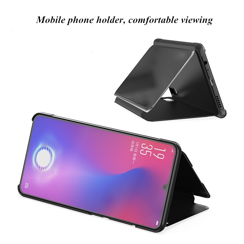 For Oneplus Nord Case Luxury Mirror Stand Leather Clear Smart View Flip 360 Full Cover Case for One Plus Nord Shockproof Fundas 5