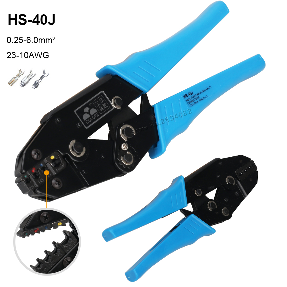 0.25-6MM2 23-10AWG Crimping Pliers HS-40J Insulation Non insulation Coaxial Cable Terminals Clamp Tools Kit 230mm HS-03BC 05H