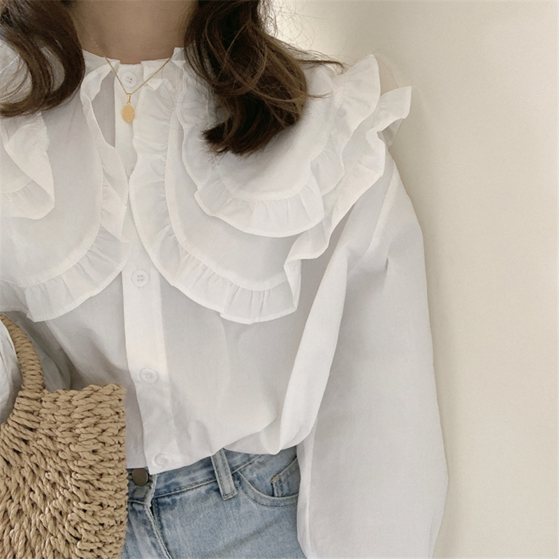 H41999ac1c5fe46348dfaad853233beadN - Spring / Autumn Double-Layer Ruffle Collar Long Petal Sleeves Loose Blouse