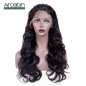 Aircabin 4x4 Lace Closure Wig Straight Brazilian Human Hair Wigs For Black Women 8-26 Inch 150 High Density Pre Plucked Non-Remy(China)