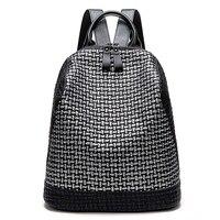 Korean Leisure Soft Leather Backpack Women Popular Panelled Girl Schoolbag High Quality Back Pack Daily Travel Mochila