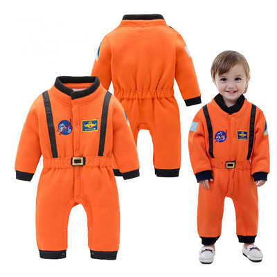 Newborn Baby Boys Romper Infant Orange Astronaut Style Clothes Girl Baby Costumes Cool Boy Space Suit Baby Long Sleeve Jumpsuit